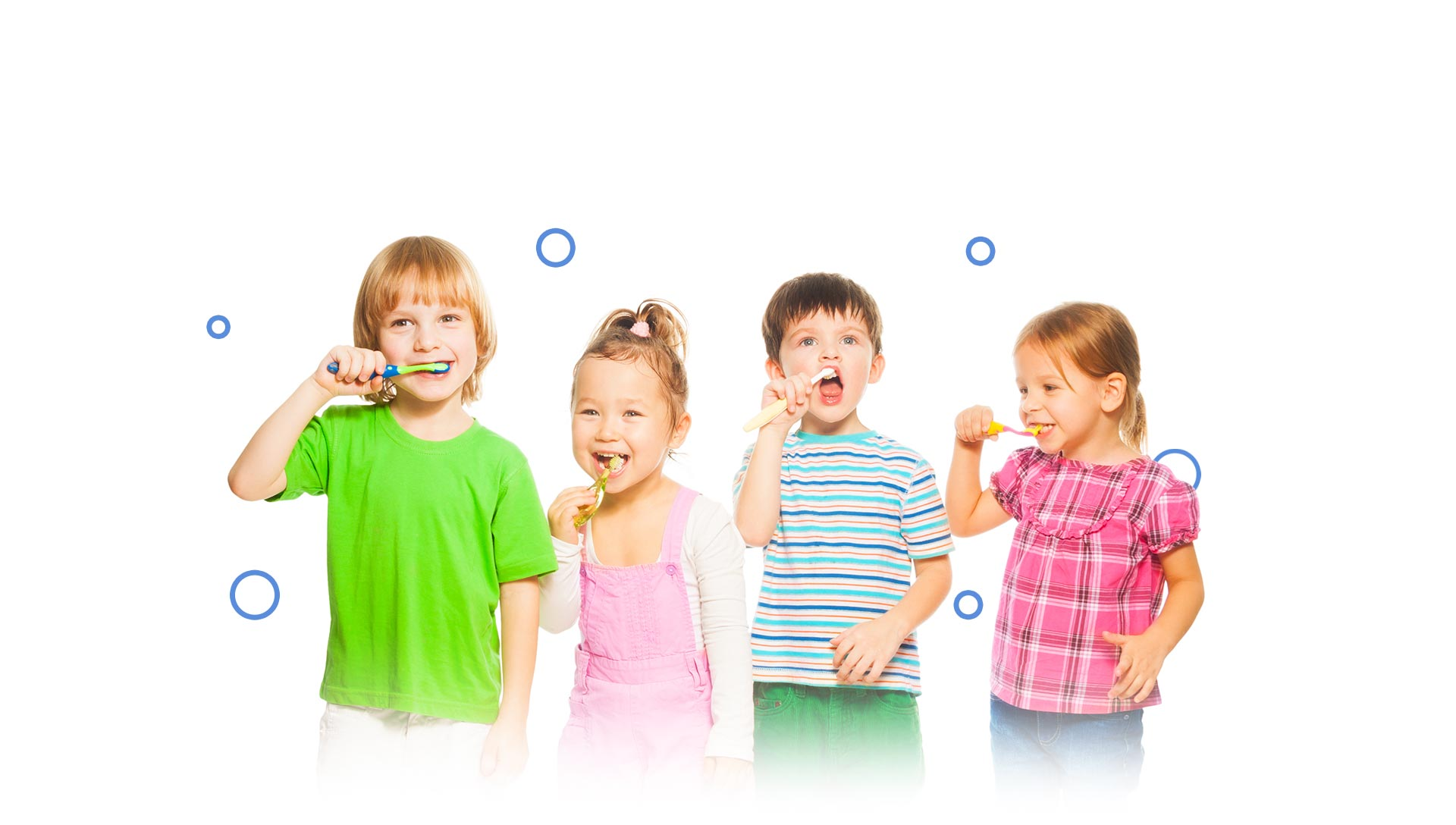 Group of happy children brushing their teeth